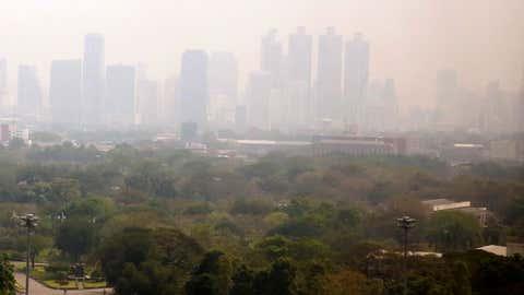 A thick smog hangs over downtown Bangkok, Thailand, on Feb. 8, 2018.