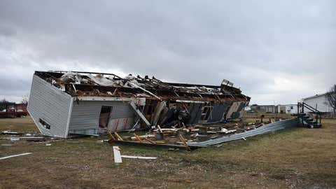 A mobile home is seen destroyed after a tornado struck an area outside Joshua, about 20 miles south of Fort Worth, Texas, Tuesday, Feb. 20, 2018. (Jessica Pounds/Cleburne Times-Review via AP)
