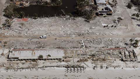 Homes washed away by Hurricane Michael are shown in this aerial photo Thursday, Oct. 11, 2018, in Mexico Beach, Florida. Michael was the third-most intense continental U.S. landfall by pressure and most intense Florida Panhandle landfall on record. (AP Photo/Chris O'Meara)