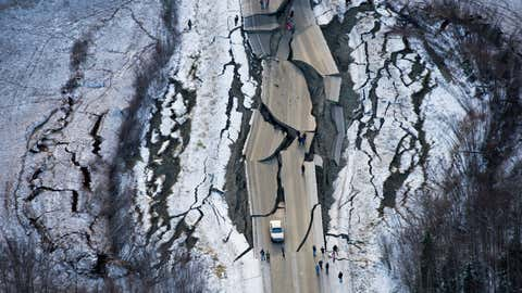 This aerial photo shows damage on Vine Road, south of Wasilla, Alaska, after a magnitude 7 earthquake Friday, Nov. 30, 2018. (Marc Lester/Anchorage Daily News via AP)