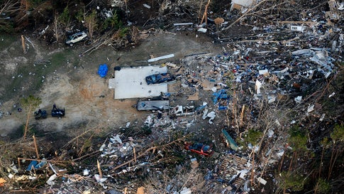 Destruction is seen from tornadoes that came through last night, killing multiple people, in Lee County, Ala., Monday, March 4, 2019. (AP Photo/Gerald Herbert)