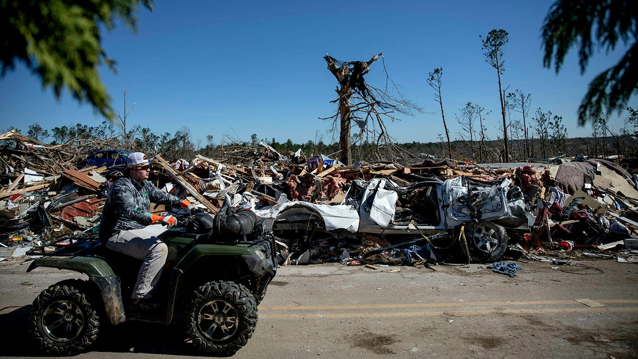 Debris sits on the side of a road in a neighborhood devastated by a tornado in Beauregard, Ala., Tuesday, March 5, 2019. (AP Photo/David Goldman)