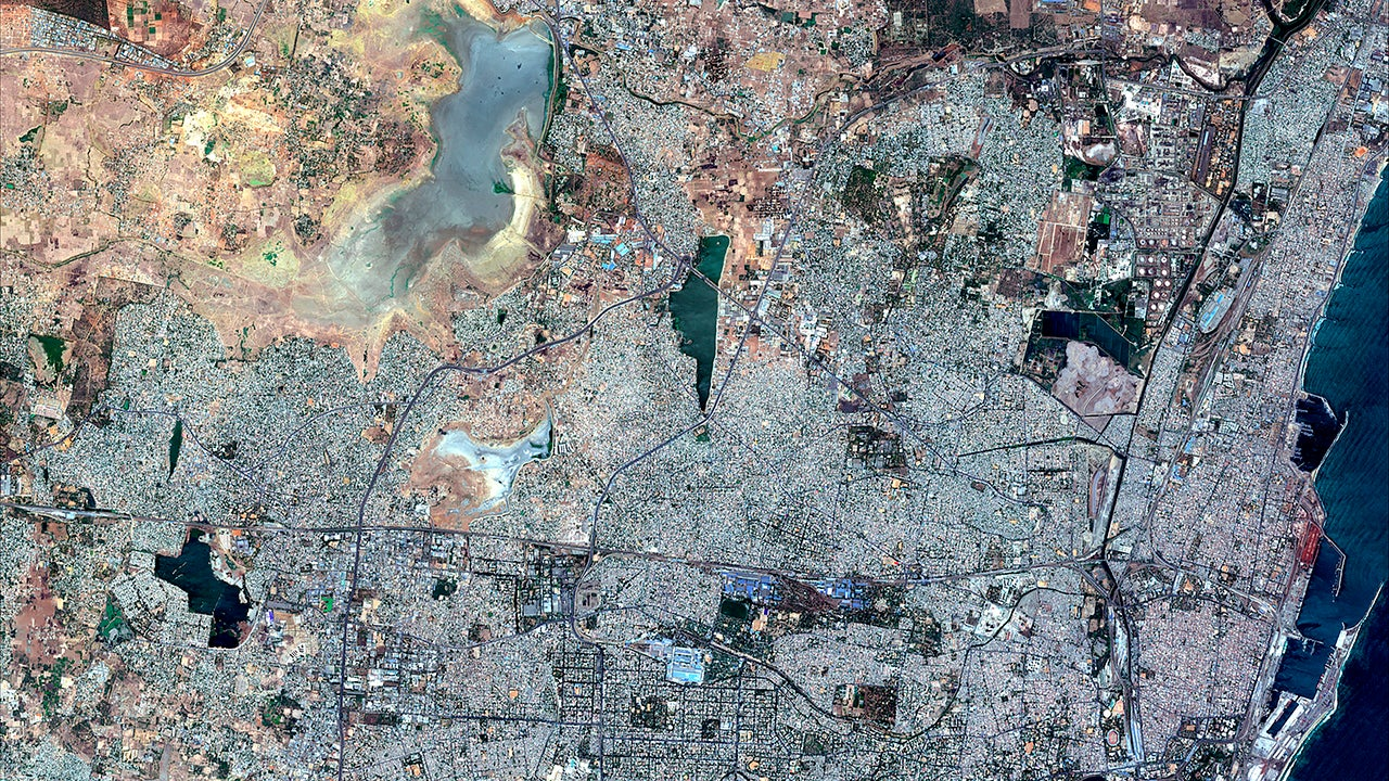 The aerial before-and-after photos show the shrinking Chembarambakkam Lake and Puzhal reservoir, both in Chennai, shrinking in one year.