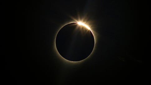 The moon blocks the sun during a total solar eclipse in La Higuera, Chile, Tuesday, July 2, 2019. Northern Chile is known for clear skies and some of the largest, most powerful telescopes on Earth are being built in the area, turning the South American country into a global astronomy hub. (AP Photo/Esteban Felix)