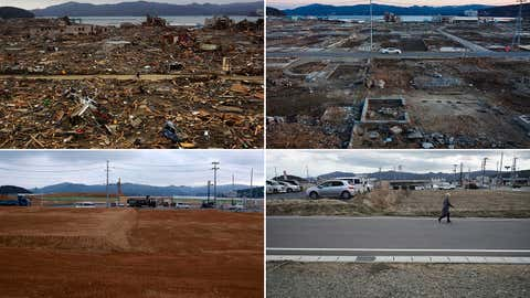 In this combination photo, from top left to bottom right, a Japanese survivor of the earthquake and tsunami rides his bicycle through the leveled city of Minamisanriku, in Miyagi Prefecture, northeastern Japan, on March 15, 2011, top, a car drives through the same spot on Feb. 23, 2012, trucks and cars drive through on Saturday, March 5, 2016 and a woman walks through on March 6, 2021. (AP Photo/David Guttenfelder and Eugene Hoshiko)