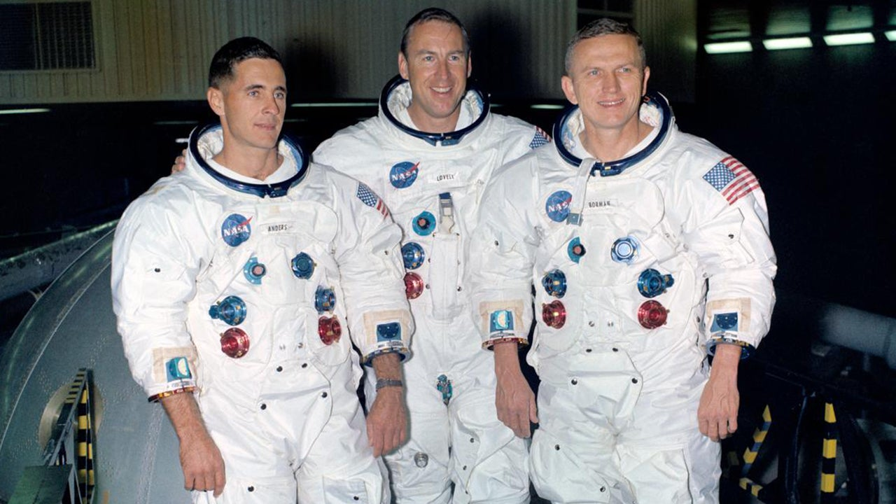 William Anders, left,  James A. Lovell Jr., and Frank Borman were the first astronauts to orbit the moon on Dec. 24, 1968. (NASA)