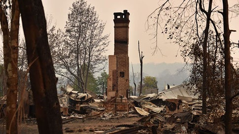 The remains of a property destroyed by fire is seen in Bobin, 350km north of Sydney on November 9, 2019, as firefighters try to contain dozens of out-of-control blazes that are raging in the state of New South Wales.