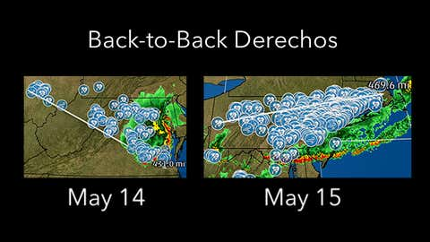 Thunderstorm high wind/wind damage swaths from the May 14 (left) and May 15 (right), 2018 derechos in the East. (Storm reports: NOAA/NWS/SPC)
