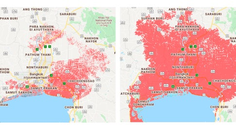 Improved elevation data from CoastalDEM significantly expands the area around Bangkok, Thailand (in red) expected to experience, on average, once-a-year coastal flooding by 2050. (Climate Central)