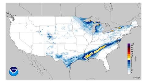 Estimated 48-hour snowfall ending 6 a.m. CST, Dec. 9, 2017, from Winter Storm Benji in the South.