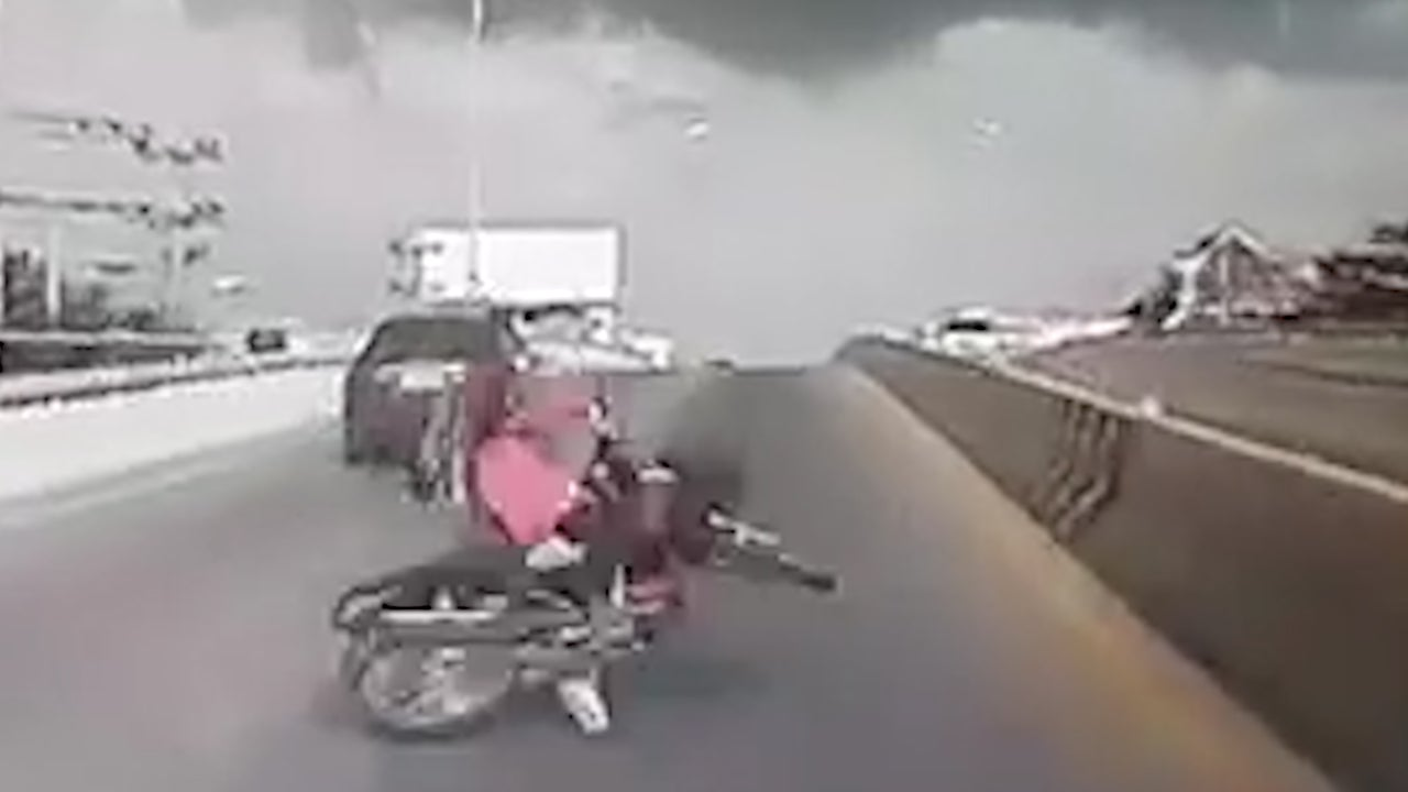 Flying Branch Causes Motorcycle Crash