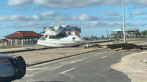 A large boat sits on U.S. Highway 90 in Long Beach, Mississippi, on Thursday, October 29, 2020, after Hurricane Zeta roared through the state. (Facebook/Mississippi Emergency Management Agency)