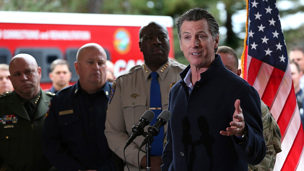 Gov. Gavin Newsom discusses emergency preparedness during a visit to the California Department of Forestry and Fire Protection CalFire Colfax Station on Tuesday, January 8, 2019, in Colfax, California. On his first full day as governor, Newsom announced executive actions to improve the state's response to wildfires and other emergencies. (AP Photo/Rich Pedroncelli)