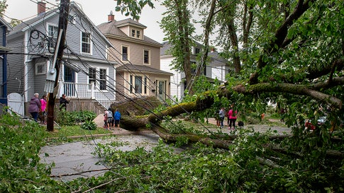 A street is blocked by fallen trees as a result of Hurricane Dorian pounding the area with heavy rain and wind in Halifax, Nova Scotia, on Sunday, Sept. 8, 2019. Hurricane Dorian brought wind, rain and heavy seas that knocked out power across the region, left damage to buildings and trees as well as disruption to transportation. (Andrew Vaughan/The Canadian Press via AP)