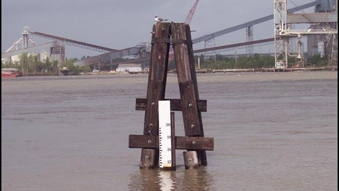 The Carrollton Gage is located on the Mississippi River at New Orleans near Audubon Park. Flood stage on the gage is at 17 feet, which is 3 feet below the top of the city's levees.
