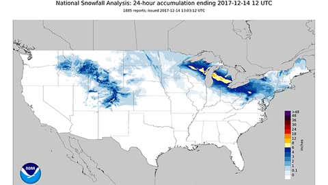 24-hour estimated snowfall analysis ending 7 a.m. EST, Dec. 14, 2017, illustrating the swath of snow from Winter Storm Chloe in the Midwest and interior Northeast. (NOAA/NOHRSC)