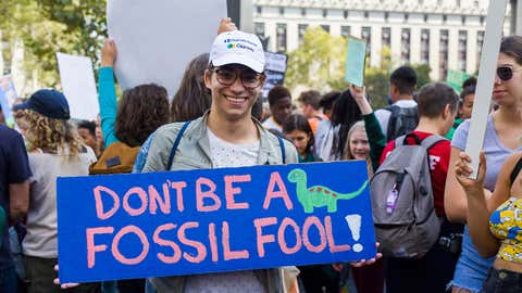 """""""Don't be a fossil fool!"""" a sign reads before Friday's Climate Strike in Foley Square. (weather.com/Euna Park)"""