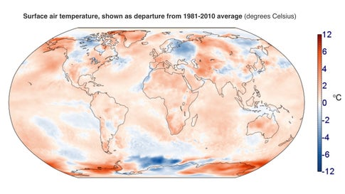Departure from 1981-2010 global temperature for July 2019, as assessed by the Copernicus Climate Change Service.