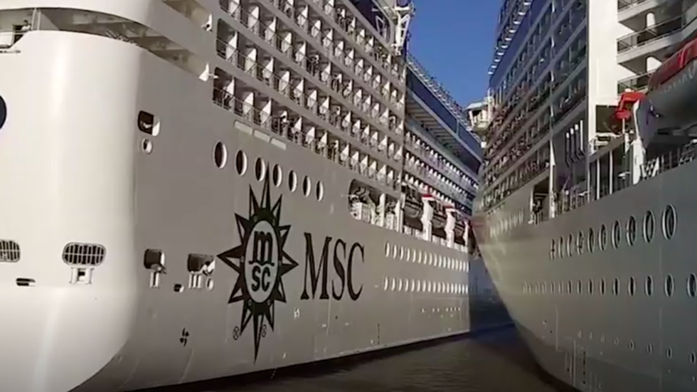 Watch Cruise Ships Collide in South America