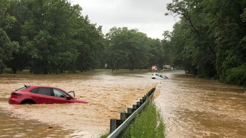 Old Hundred Road near the Interstate 270 overpass in Montgomery County, Md., was closed Monday morning due to high water. (Twitter/mcfrsPIO)