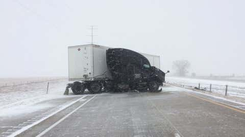 State troopers in Minnesota responded to several jackknifed tractor trailers along Interstate 94 on Thursday, April 11, 2019, during Winter Storm Wesley. Sergeant Jesse Grabow tweeted that he couldn't remember a day with as many tractor trailer incidents. (Twitter/@MSPPIO_NW)