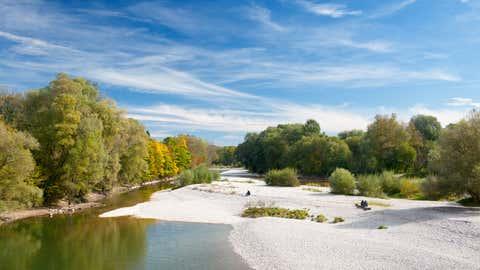 """Autumn Colors, River Isar Munich, Bavaria, Germany Panorama (XXXL)"""