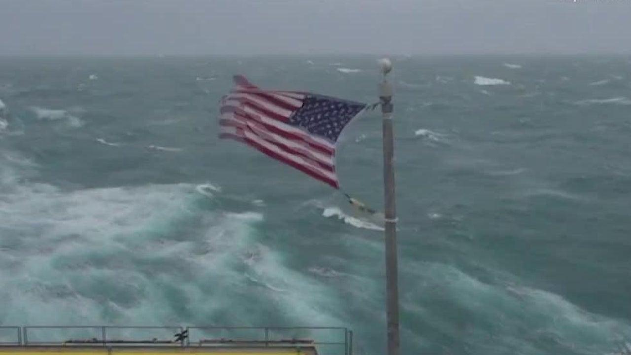 Hurricane Dorian Blasts American Flag on Frying Pan Tower in