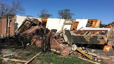 Christiana, Tennessee, was hit by an EF2 tornado overnight Monday, killing at least one. (Twitter/@NWSNashville)