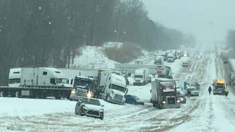 Parts of Interstate 40 in western Tennessee were closed Friday afternoon after multiple accidents occurred due to slick conditions. (Twitter/@TNHighwayPatrol)