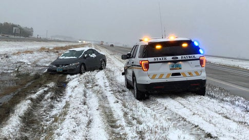 North Dakota Highway Patrol advised drivers not to travel during a snowstorm Friday morning due to icy and slushy roads. (Twitter/@NDHighwayPatrol)