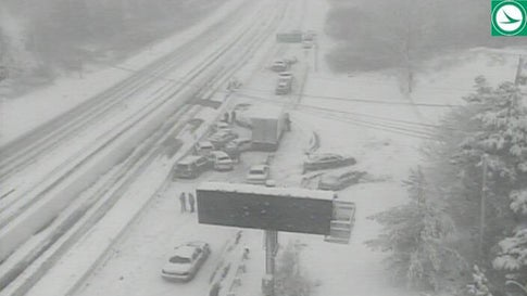 A 50-vehicle crash blocked Interstate 80 near Austintown, Ohio, on Tuesday, as whiteout conditions took over. (Twitter/Ohio Department of Transportation)