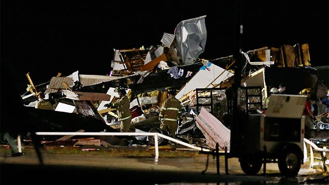 The tornado destroyed a motel, damaged a mobile home park
