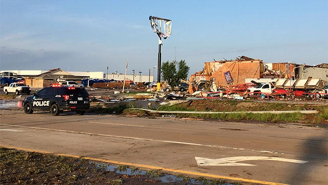 An EF3 tornado destroyed a motel and heavily damaged a mobile home park in Oklahoma