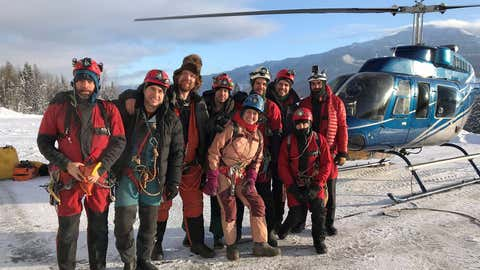 Jason Lavigne, left to right, Jeremy Bruns, Jared Habiak, Christian Stenner, Katie Graham, Vladimir Paulik, Colin Massey, Jérôme Genairon, and Mehdi Boukhal are shown in this handout image provided by Jeremy Bruns. A member of a team of explorers has reached a record depth in a cave near Fernie, B.C., that is believed to be the deepest in Canada. The cave has so far been measured at 5.3 kilometres in length and 670 metres deep, more than 200 storeys below the ground. (Jeremy Bruns MANDATORY CREDIT/THE CANADIAN PRESS/HO)