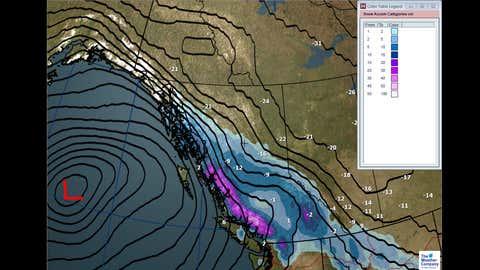 Total Snowfall expected through Sunday, Jan. 28.