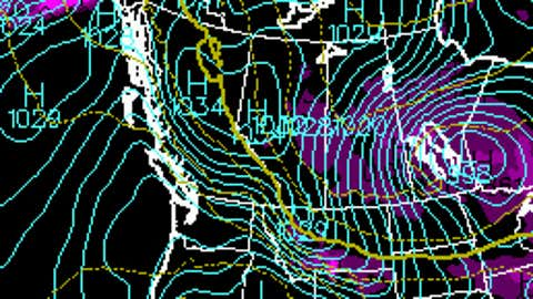 Sunday, Oct. 29, 2017 surface map showing the strong gradient over B.C. (The Weather Channel Canada)