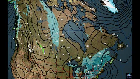 Canada National Forecast: Tuesday Weather, Temperatures (C) and Mean Sea Level Pressure