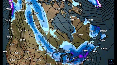 Canada National Forecast: Forecast Accumulated Snowfall Forecast through Tuesday (cm)