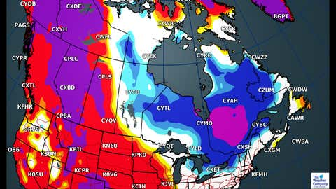 Canada National Forecast: Monday Departure from Average High temperatures (C)