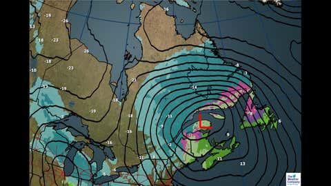 Canada National Forecast: Wednesday Dec. 13 weather and maximum temperatures (C)
