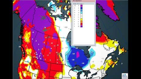 Canada National Forecast for Friday, December 8, 2017: Forecast Maximum Temperatures and Departures (C)