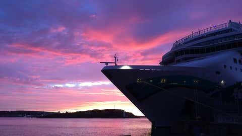 A cruise ship docked along the Halifax waterfront at sunrise (Meghan Groff/HalifaxToday.ca)