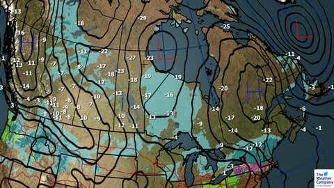 Forecast Weather, Sea Level Pressure and Max Temps (C) for Friday, Dec. 22.