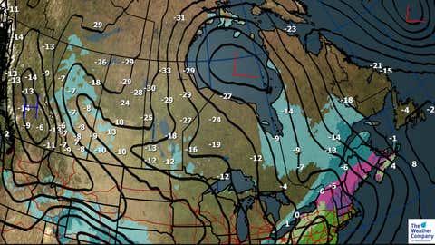 Saturday, Dec. 23, Forecast Weather, Sea Level Pressure and Max Temps (C)