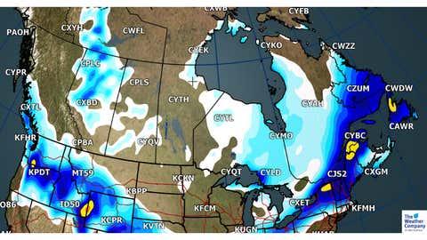Forecast Total Snowfall through Sunday, Dec. 24 PM (cm)