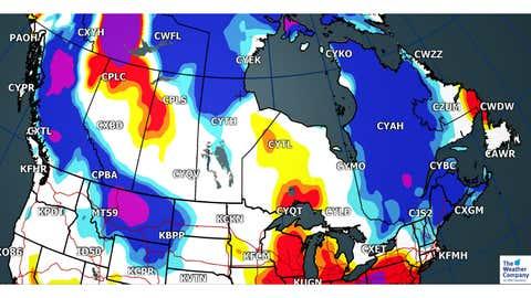 Forecast Max Temperatures Departures for Friday, Dec 22 (C)