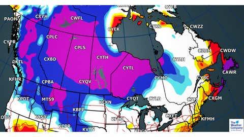 Forecast Max Temperatures Departures for Sunday, Dec. 24 (C)