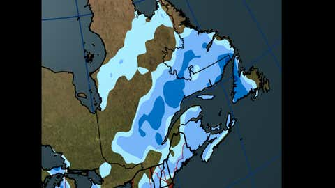 Forecast Total Snowfall through Friday, Feb. 2, 2018