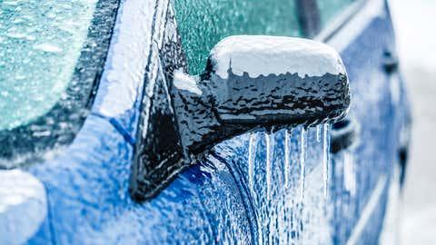 Frozen car side-view mirror. iStock/Courtesy 1310 News