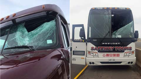 Photos of a truck and tour bus damaged by flying ice on Ontario highways, posted by OPP Sgt. Kerry Schmidt on Twitter on April 17, 2018. (HANDOUT/Twitter/@OPP_HSD)